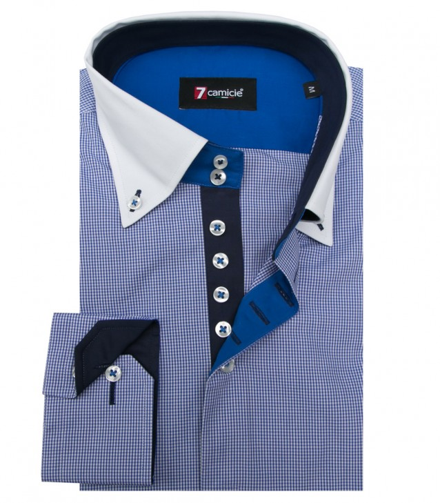 Shirt Roma Poplin Blue ink White