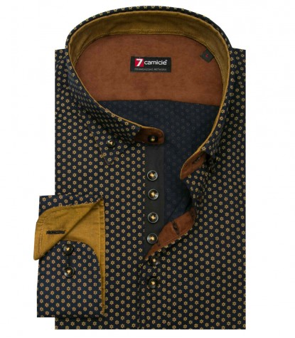 Shirt Donatello Oxford Dark Blue and Mustard