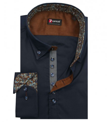 Shirt Donatello stretch poplin Blue