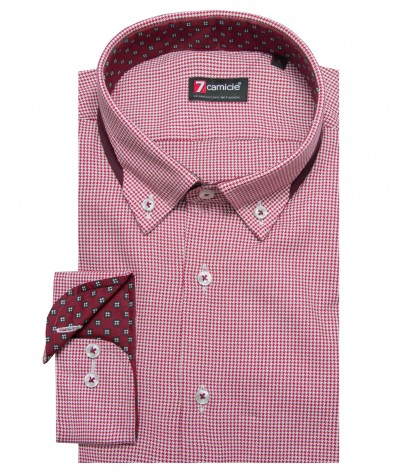 Shirt Donatello jacquard White and Burgundy