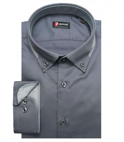 Camicia Donatello Satin Grigio Scuro