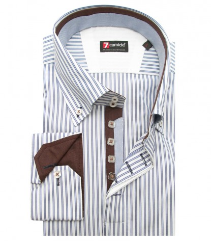 Shirt Roma Cotton White and Blue