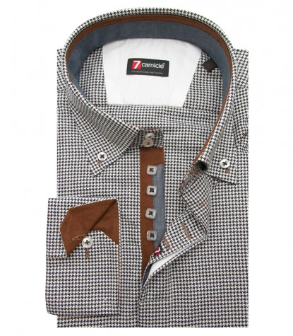 Shirt Roma jacquard Blue Brown
