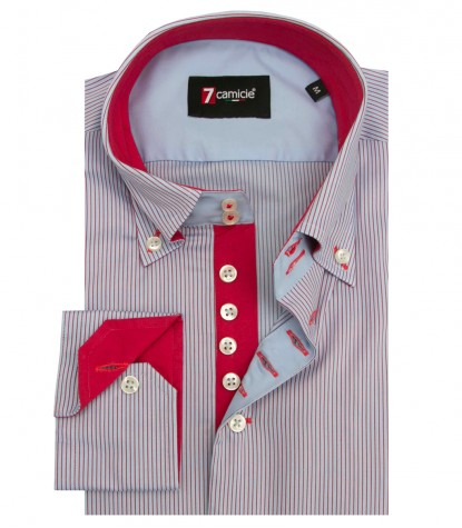 Shirt Roma Oxford Light Blue and Red