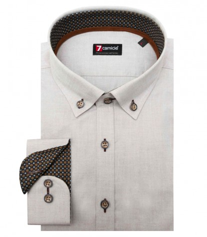 Chemises Leonardo Oxford Dove gris
