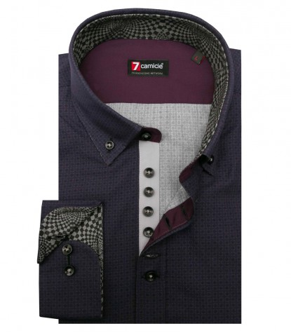 Shirt Donatello Poplin Purple and Medium Grey