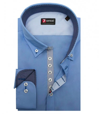 Shirt Donatello stretch poplin Medium Blue