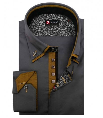 Shirt Marco Polo Satin Dark Grey
