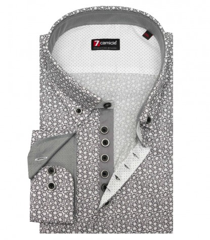 Shirt Donatello Cotton White and Dark Gray