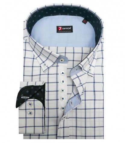 Camicia Donatello Oxford BiancoBlu Inchiostro