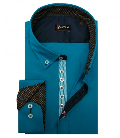 Shirt Donatello stretch poplin Turquoise