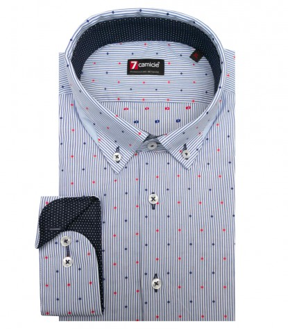 Shirt Donatello jacquard WhiteBlue