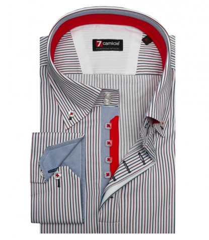 Shirt Roma Poplin White and Red