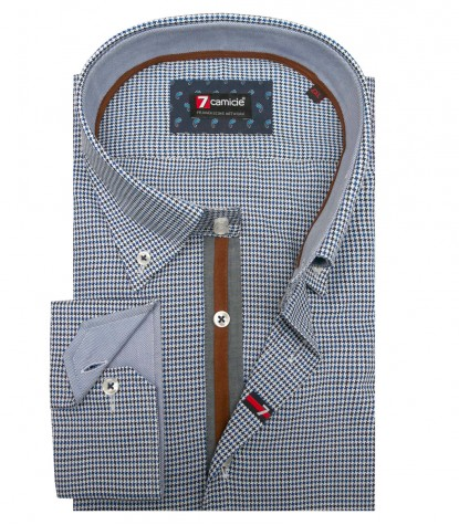 Shirt Roma jacquard Blue Light Blue