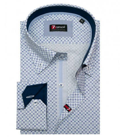 Shirt Roma Poplin White and Medium Blue