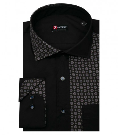 Shirt Raffaello stretch poplin Black