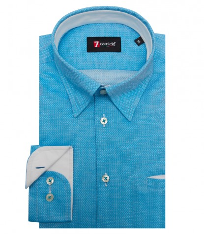 Shirt Tiziano Cotton TourquoiseWhite