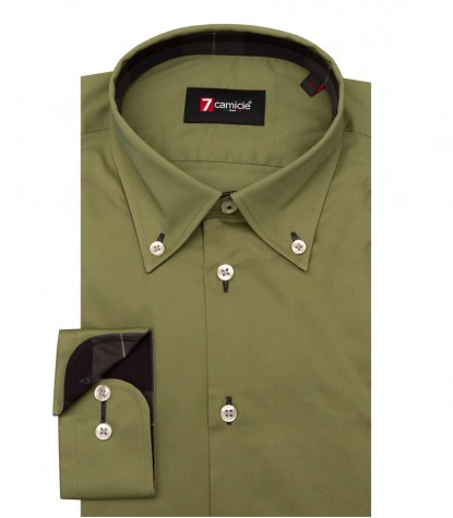 Shirt Leonardo stretch poplin Military Green