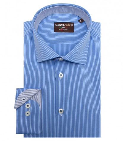 Shirt Firenze Cotton Polyester Light Blue White