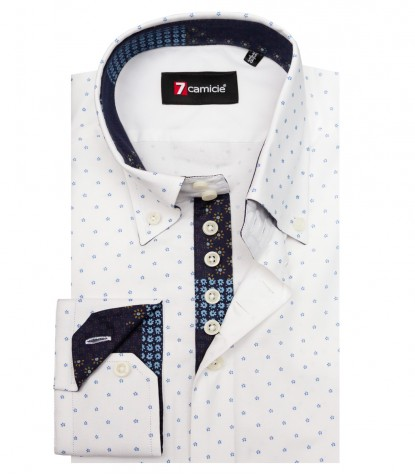 Camicia Roma Super oxford Bianco Blu Avion
