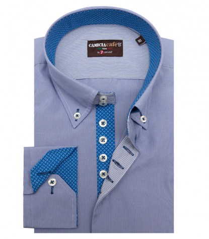 Shirt Roma Cotton Polyester BlueWhite