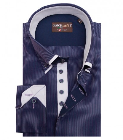 Shirt Marco Polo Cotton Polyester Dark Blue and Lillac