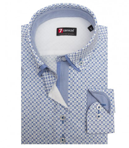 Shirt Linda Poplin White and Medium Blue