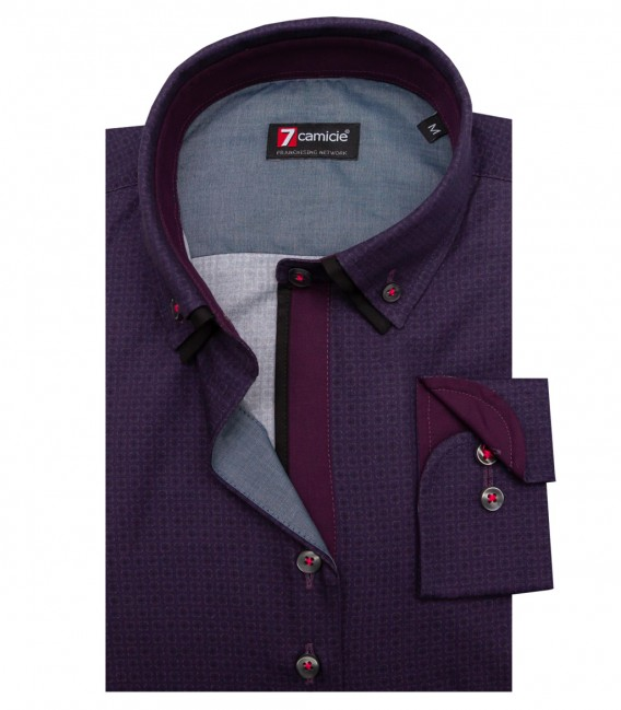 Shirt Linda Poplin Purple and Medium Grey