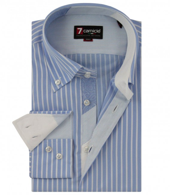 Shirt Roma Poplin Light BlueWhite