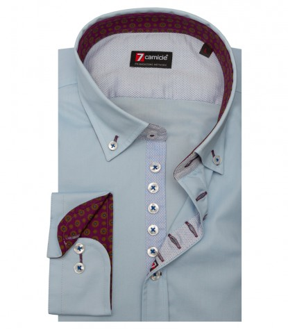 Camicia Donatello Popeline stretch Celeste