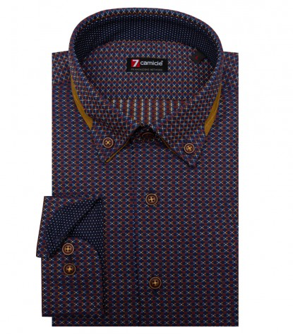 Shirt Donatello jacquard Blue Brown