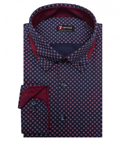 Shirt Donatello Oxford Blue Dk Red