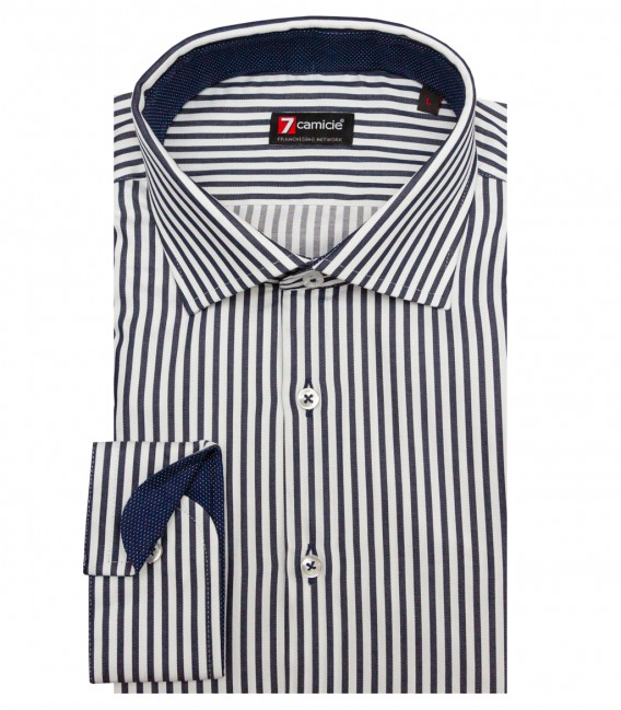 Shirt Firenze Satin White and Blue