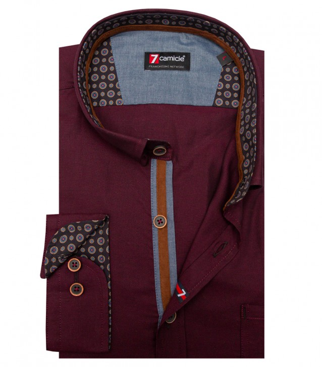 Camicia Romeo Oxford Bordeaux