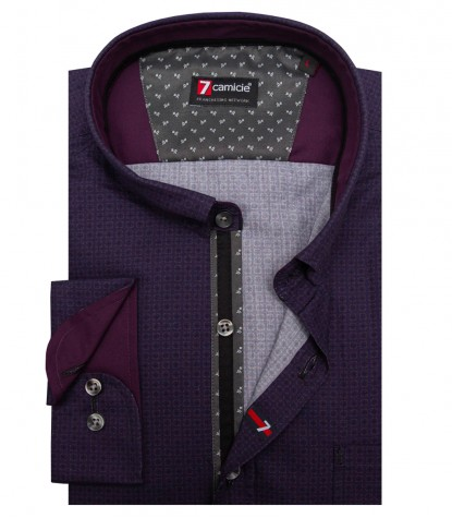 Shirt Romeo Poplin Purple and Medium Grey