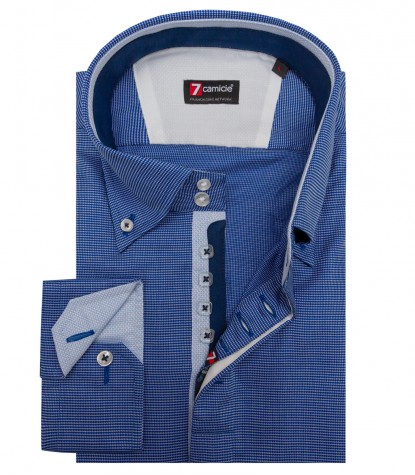 Shirt Roma jacquard Blue ink White