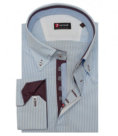 Shirt Roma Poplin Blue Light Blue
