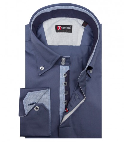 Shirt Roma Satin Avion Blue