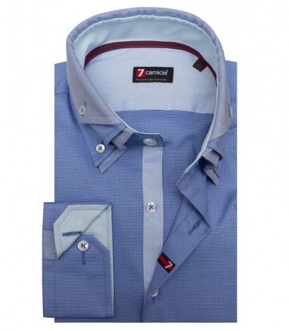Shirt Vesuvio jacquard Inch and Light Blue