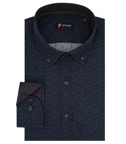 Shirt Leonardo Cotton Avion and Dark Blu