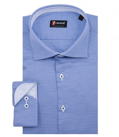 Shirt Firenze jacquard Inch and Light Blue