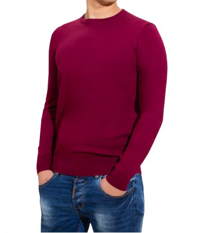 Pull à col rond rouge pour homme