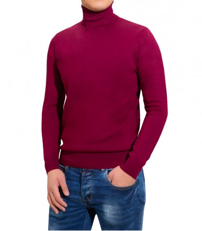 Man Turtleneck Sweater Plain Red