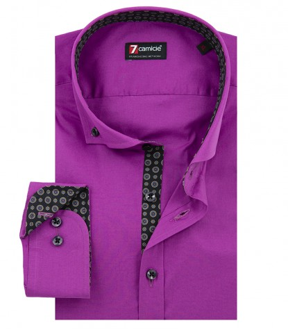 Shirt Leonardo stretch poplin Cyclamen Purple