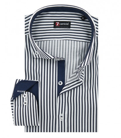 Shirt Leonardo Satin White and Blue