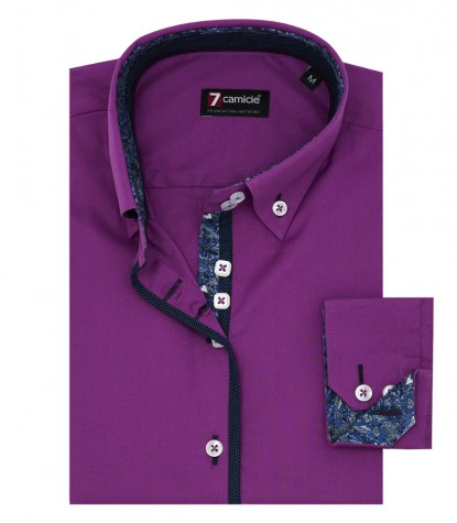 Shirt Sofia stretch poplin Cyclamen Purple