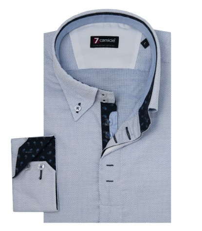 Shirt Roma jacquard White Light Blue