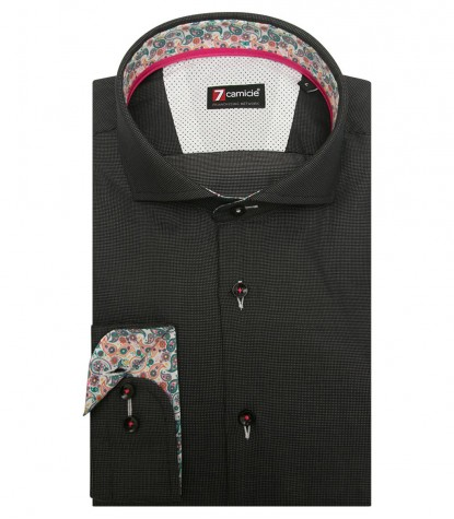 Shirt Firenze jacquard Black White