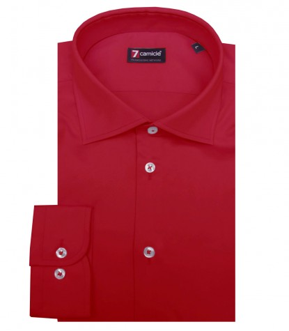 Shirt Firenze stretch poplin Persia Red