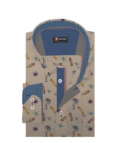 Shirt Raffaello Cotton Beige and Avion